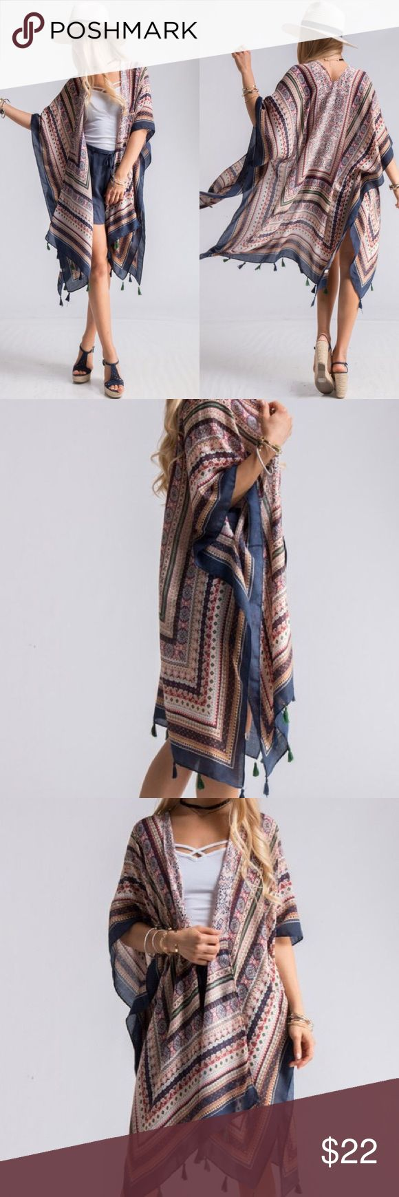 """🆕 Listing: Shrugs Perfect For Spring & Summer🙌🏽 AZTEC SCARF PRINT SHRUGS WITH TASSEL TRIM DETAIL AND ARM HOLES. 💕 100%POLYESTER. MADE IN CHINA**38"""" X 71"""" Accessories Scarves & Wraps"""