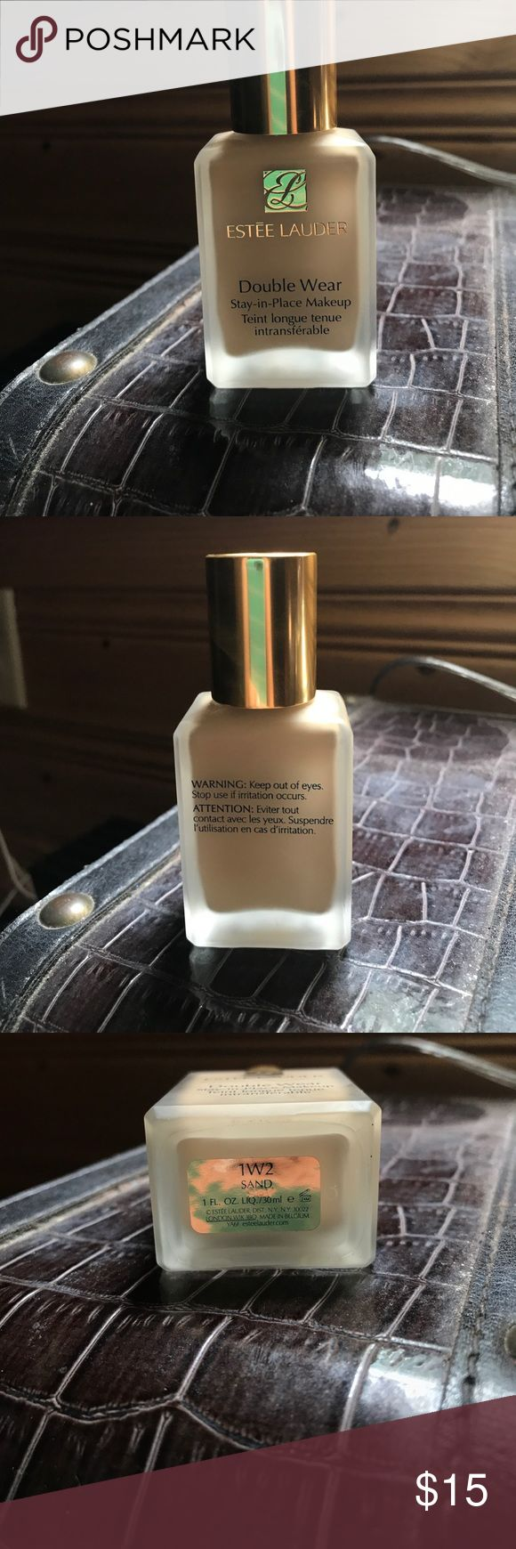 Estee Lauder double wear foundation (1W2 Sand) This foundation claims to be a 24-hour, flawless foundation that looks fresh through heat humidity and activity. It gives a natural looking medium coverage while still being light weight and oil free. Shade:1W2 Sand Estee Lauder Makeup Foundation