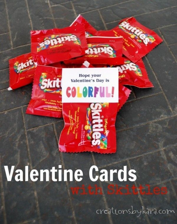 Printable Valentine Cards with Skittles: Great for classroom #Valentines! -from creationsbykara.com