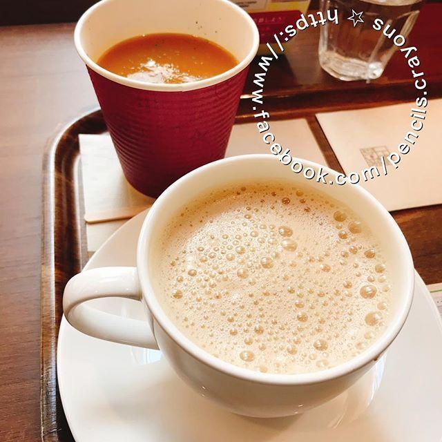 昨日の映画本立ての合間の休憩 黒糖ミルク珈琲 人参スープ 上島珈琲店 Coffeetime Carrotsoup Coffeeshops Sapporostation Tableware Glassware