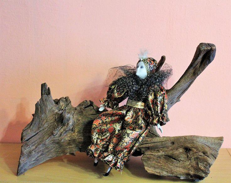 Beautiful Vintage Porcelain Pierrot Clown Doll, Ceramic Sad Clown Figurine, Black Gold Outfit Costume by Grandchildattic on Etsy
