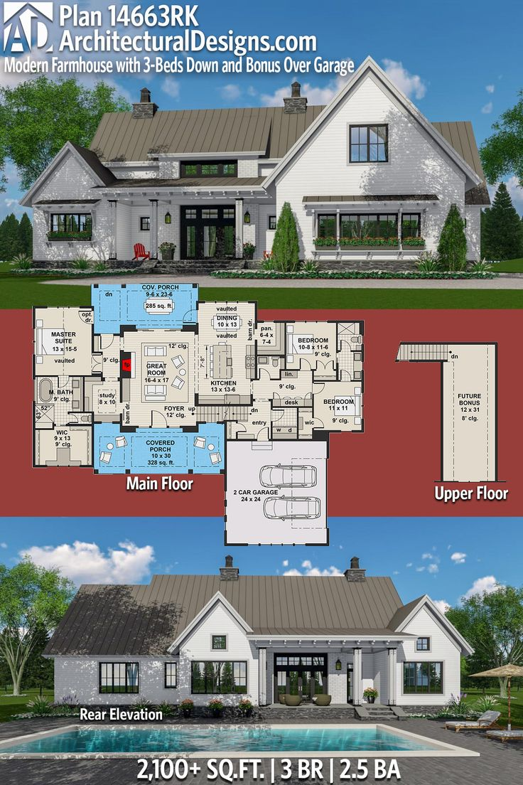 master bedroom additions over garage%0A Plan      RK  Modern Farmhouse Plan with  Beds Down and Bonus Over Garage