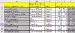 Handy tip to use your 3 month supply spreadsheet to help track prices while you grocery shop.  Download a copy for free.