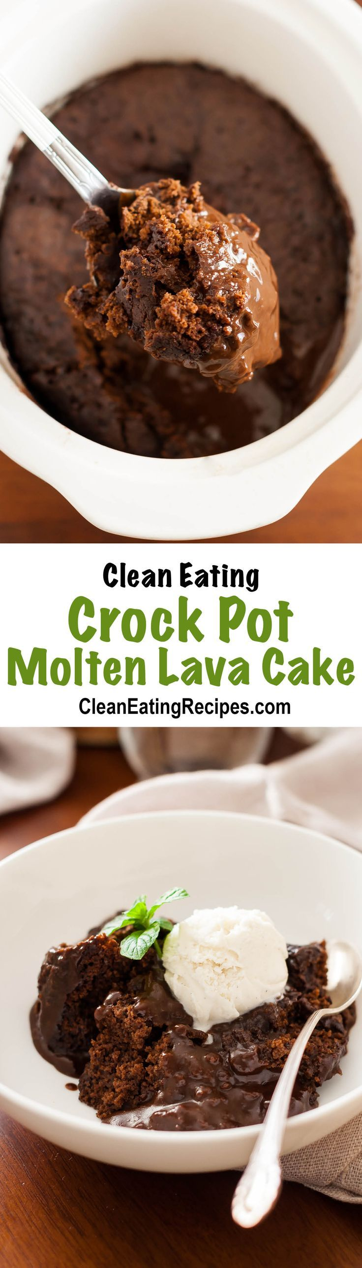 Slow Cooker Molten Lava Cake Recipe {Clean Eating, Gluten Free, Dairy Free} - this looks so good and fun to make. I'm going to get this ready before dinner for my family party tomorrow and then by the time we eat dinner, dessert will be hot and ready to eat.