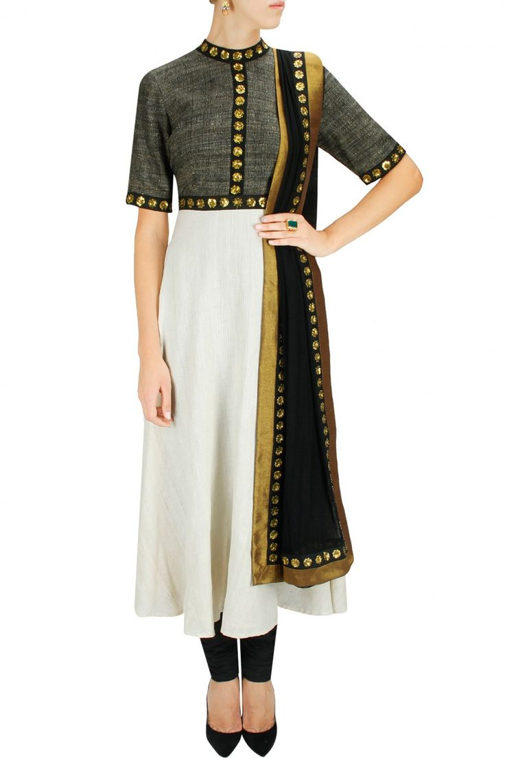 Ivory, black and charcoal sequins embroidered anarkali set by Priyal Prakash. Shop now at www.perniaspopups... #mostwanted #designer #fashion #couture #shopnow #perniaspopupshop #happyshopping