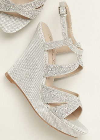 A little extra sparkle goes a long way with these crystal embellished high heel wedge sandals! Style Balle8 at David's Bridal.