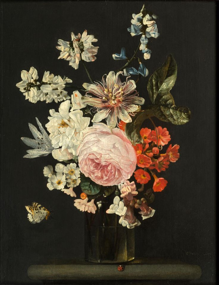 Cerstiaen Luyckx (Antwerp 1623 - Antwerp 1653) Still Life of roses, Peonies and Passion flowers in a glass vase on a stone ledge with a Ladybird and a Butterfly Oil on Panel, 32 x 24.8 cm.