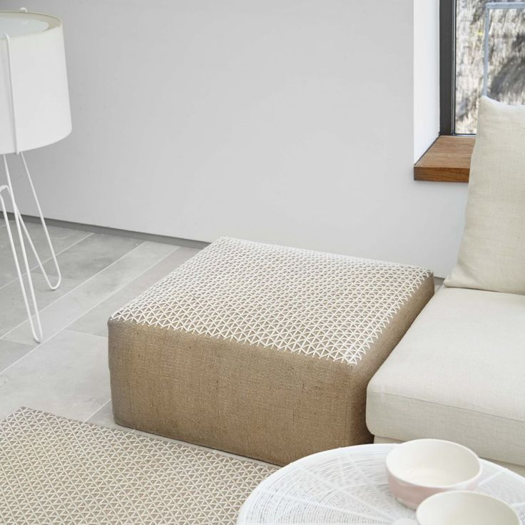 Square pouf ottoman, Made In Design. http://www.kenisahome.com/blog