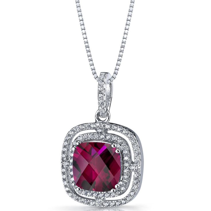 Women's Sterling Silver Cushion Ruby Double Halo Pendant Necklace    eBay
