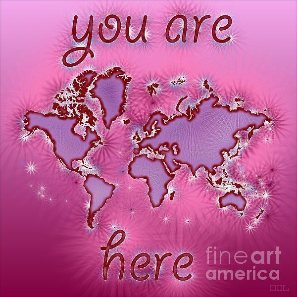 World Map Amuza with 'You Are Here' text In Purple And Pink by elevencorners. World map wall print decor. #elevencorners #mapamuza
