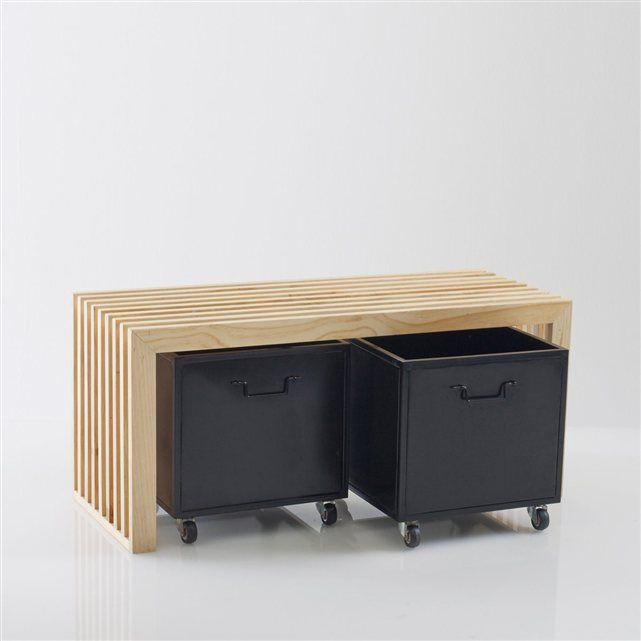 banc d 39 entr e pin roll inspiration maison pinterest caisson la redoute interieurs et roulette. Black Bedroom Furniture Sets. Home Design Ideas