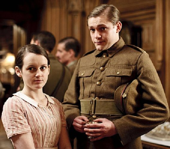 Sophie McShera as Daisy Robinson and Thomas Howes as William Mason. She is the assistant cook and he is a footman. He loves her, she is not sure, and he goes to war. He is seriously wounded and is brought back to Downton Abbey. She doesn't really love him, but they are married. He dies soon afterward.