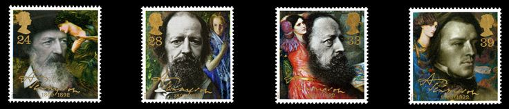 #Stamps commemorating the death centenary of Alfred Lord Tennyson, issued 1992.