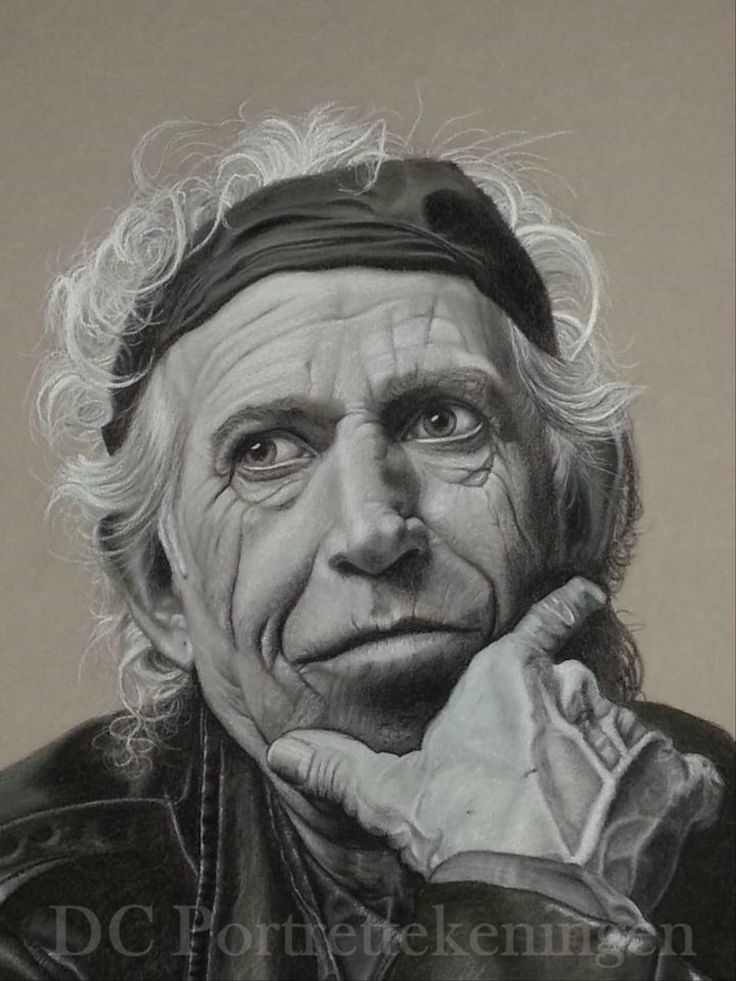 """""""Keith Richards"""" realistic portrait drawing made with pastelpencils"""