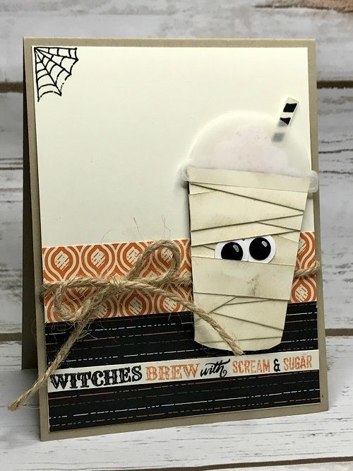 Mummy coffee cup card for Halloween