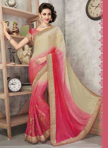 Pink And Cream Color Wrinkle Chiffon Butti Special Occasion Sarees http://www.shopcost.in/saree