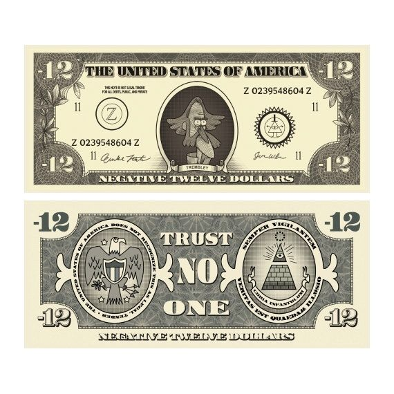 Gravity Falls - Negative Twelve Dollar Bills by TheMysteryShack on Etsy https://www.etsy.com/listing/231015516/gravity-falls-negative-twelve-dollar