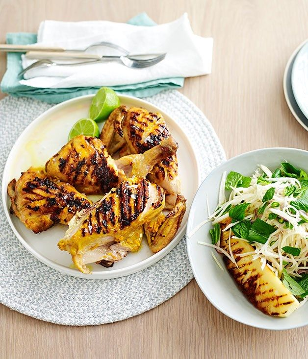 Grilled turmeric chicken with kohlrabi and pineapple recipe :: Gourmet Traveller