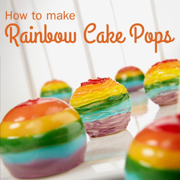 A rainbow surprise makes these cake pops both colorful and sweet. Dipped in melted colored Candy Melts® candy, they're perfect to serve at any celebration or get-together with friends.
