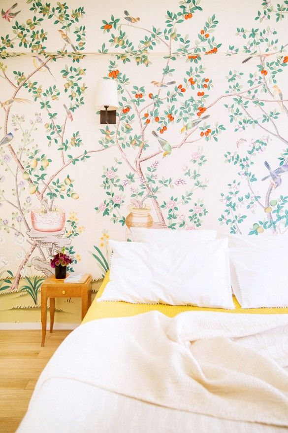 How Would Michael Kors Decorate Your House? Just Like This... | DomaineHome.com // Green floral botanical patterned wallpaper in bedroom with yellow linens.