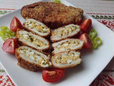 Paprikás krumpli: Tojással töltött szezámmagos csirkemell