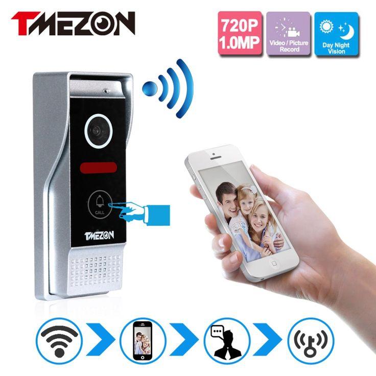 Tmezon Téléphone Contrôle Sans Fil Wifi Vidéo Porte Téléphone Interphone 720 P HD 1.0MP Caméra Extérieure IP Interphone Sonnette Système Onvif P2P