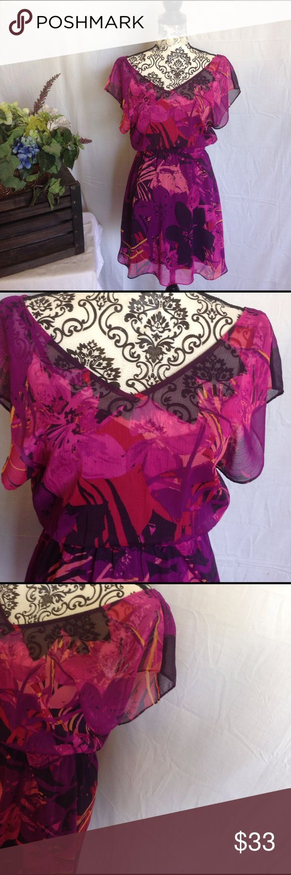 XS Express Chiffon 2 Piece Plum/Purple Mini Dress XS. Like new. Slip dress included. Perfect to wear as a swimsuit cover without slip dress underneath. Floral. Plum and purple and fuchsia. Chiffon. Elastic waist. No flaws. Free gift Express Dresses Mini