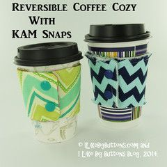 Making a Reversible Finished Edge Coffee Cozy with KAM Snaps and a FREE PDF Pattern – Supplies and Tutorial by ILikeBigButtons.com #ilikeibigbuttons #tutorial #kamsnaps
