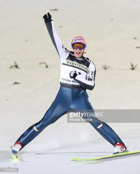 Andreas Kofler celebrate his second place during the EON Ruhrgas FIS Ski Jumping World Cup on February 03 2007 in TitiseeNeustadt Germany
