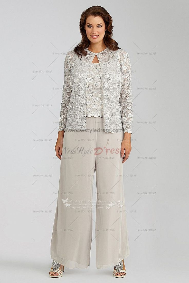 Elegant ivory lace 3 piece mother of the bride pants suit for Wedding dress pant suits