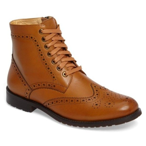 Men's English Laundry Viola Wingtip Boot ($185) ❤ liked on Polyvore featuring men's fashion, men's shoes, men's boots, cognac leather, mens leather shoes, mens wing tip boots, mens wingtip boots, mens leather boots and mens brogue boots