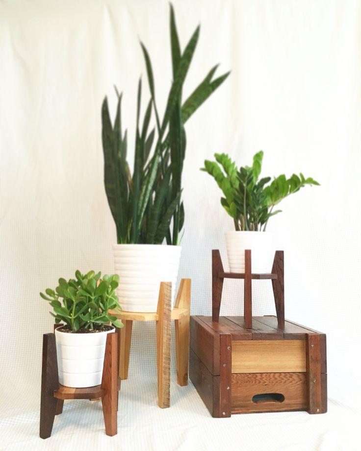 Flippable plant stand. Reclaimed cedar and fir