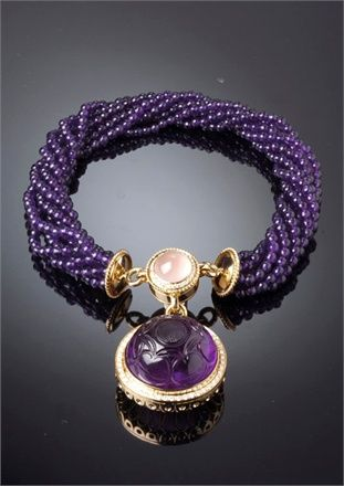 Dafne - Necklace with amethyst cabochon engraved important, rose quartz and diamonds by Marco & Laura Veschetti