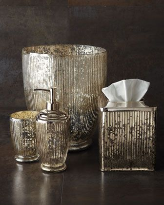 """antiqued mercury glass for the bathroom -- """"Scarlette"""" Vanity Accessories at Horchow."""