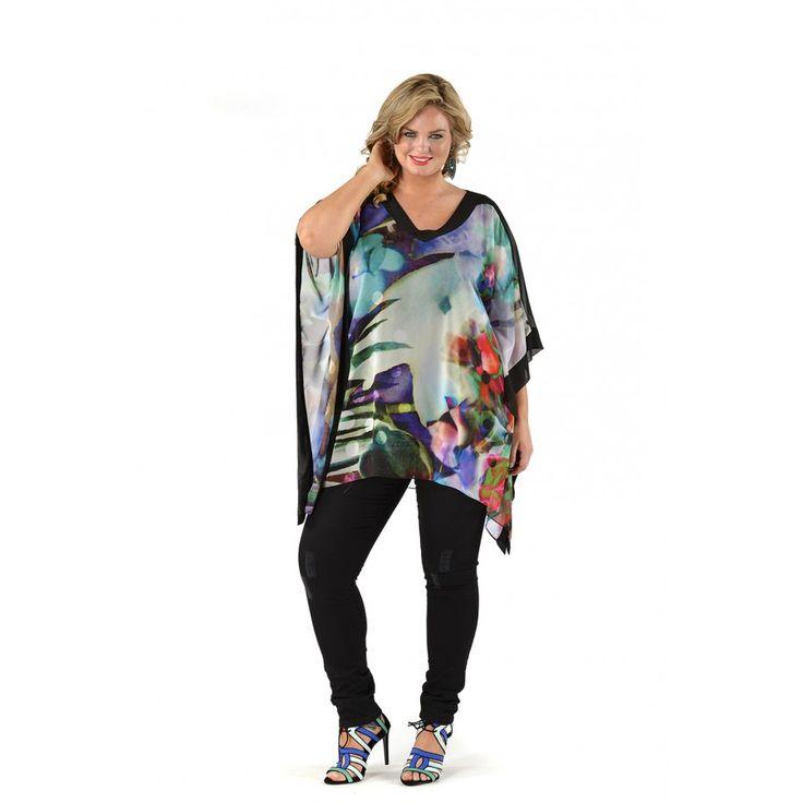 Antibes Colourful Tunic - Yoek plus size fashion