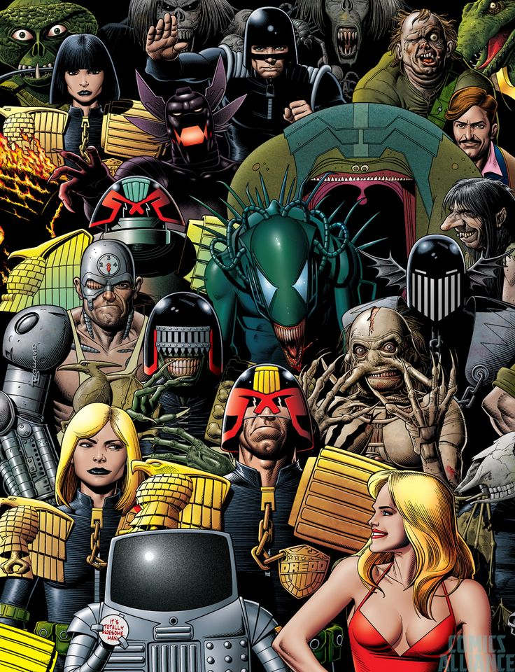 Brian Bolland's 2014 Judge Dredd Megazine issue 350 cover riffing off his 1985 2000ad Monthly (US) issue 1 cover  Read More: Bolland Revisits Own Work With 'Judge Dredd Megazine' #350 | http://comicsalliance.com/judge-dredd-megazine-350-cover-brian-bolland-homage-art/?trackback=fbshare_top&trackback=tsmclip
