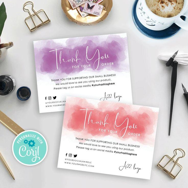 Diy business thank you card template printable thank you