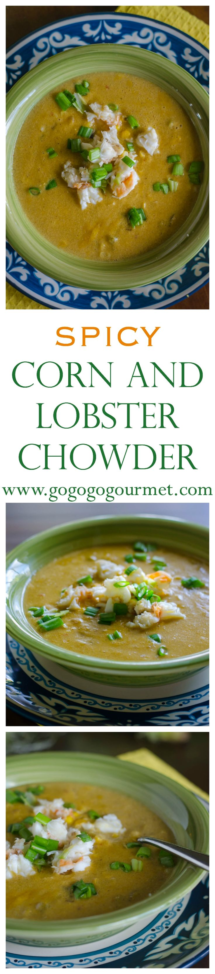 Tons of corn and roasted peppers with tender lobster... you can't go wrong! Spicy and creamy Corn and Lobster Chowder.   Go Go Go Gourmet @gogogogourmet