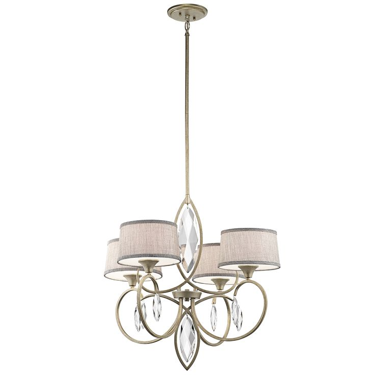Casilda 4 light chandelier in sterling gold sgd