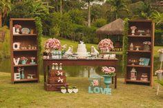 decoração vintage azul e rosa