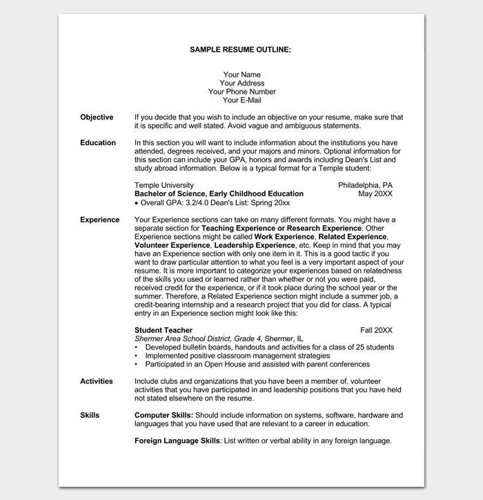 Student Resume Outline Sample