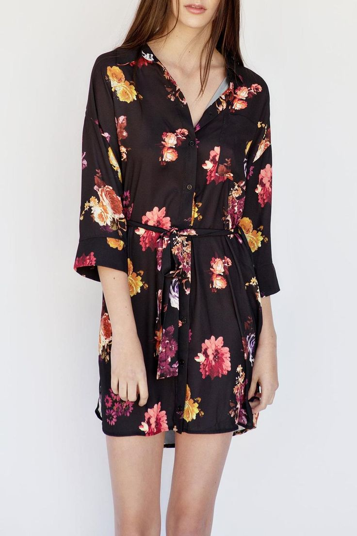 Oh My Love is about finding love again and again by showing off sexy styles you want to live in. T-Shirt dresses are every girl's must have! Can be worn casual or dressed up for a night out!   Floral Shirt Dress by OH MY LOVE. Clothing - Dresses - Floral Calgary, Canada