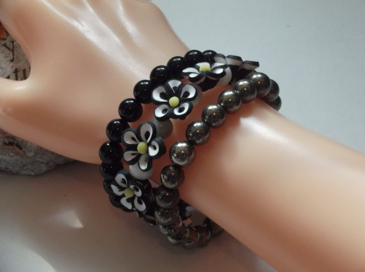 Set of 3 Dark Gemstones and Flower Beaded Bracelets by HealingAuras on Etsy