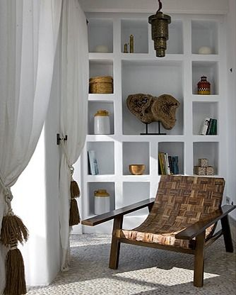 .Ibiza, Curtains, Decor Ideas, Interiors Design, Bookcas, Exotic House, Home Design, Built In Storage, Una Exoticas