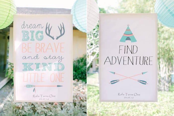 Signs + Stationery from a Camp Rafa - Pow Wow 1st Birthday Party via Kara's Party Ideas | KarasPartyIdeas.com (32)