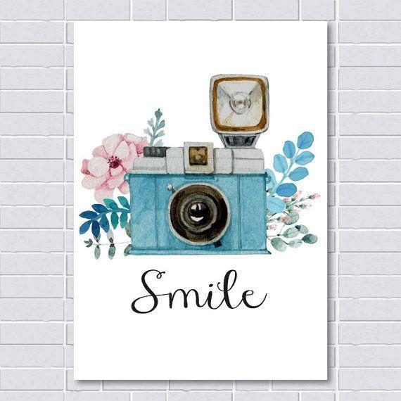 Smile Print, Vintage Print, Camera Print, Watercol…