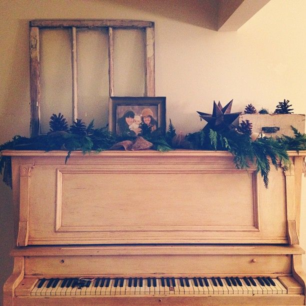 Super cute and creative Christmas decorating idea when you don't have a fireplace mantle.
