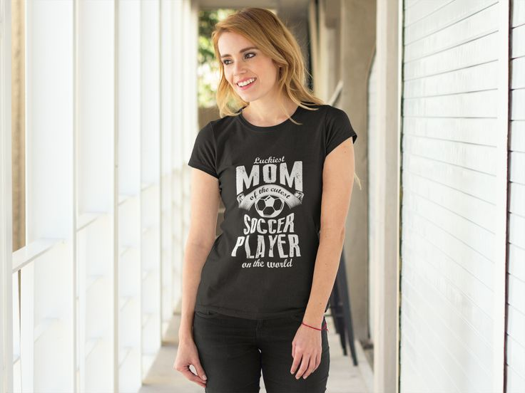 Luckiest Mom of the cutest Soccer Player on the World - Mother's Day - Mom's T-Shirt - Mother's T-Shirt - Women's T-Shirts #Football #Soccer #MothersDay2017 #MothersDay ** Printed in the USA