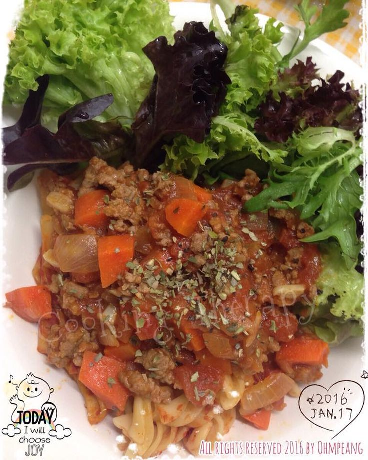 160117 Home-cooked pasta bolonese sauce served with plenty mixed salad!