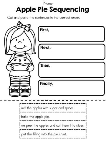 Apple Pie Sequencing >> Cut and paste sentences in order >> Part of the Apple Time Theme Worksheets packet